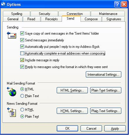 Advance E-mail Option window
